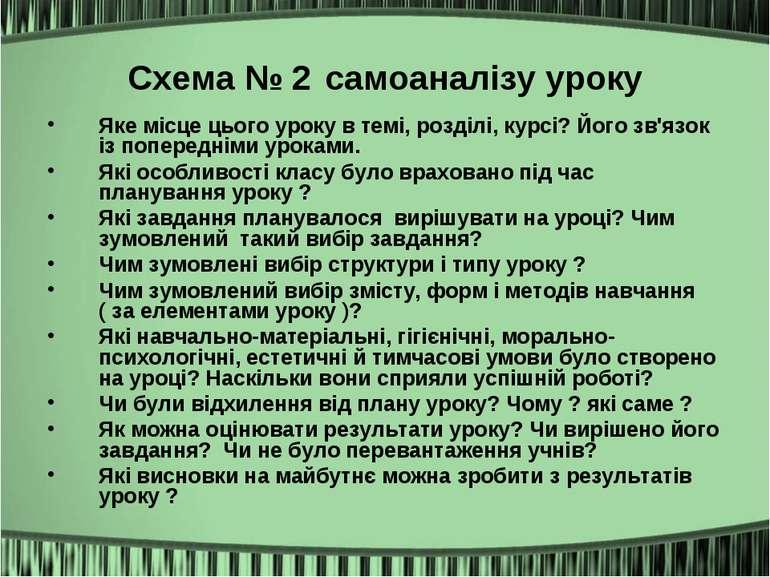 Схема № 2 самоаналізу уроку Яке місце цього уроку в темі, розділі, курсі? Йог...