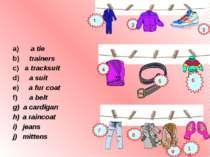 a) a tie b) trainers c) a tracksuit d) a suit e) a fur coat f) a belt a cardi...