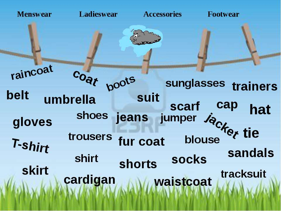 raincoat coat boots sunglasses trainers belt umbrella suit scarf cap hat glov...