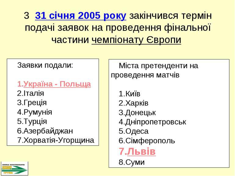 Заявки подали: Україна - Польща Італія Греція Румунія Турція Азербайджан Хорв...