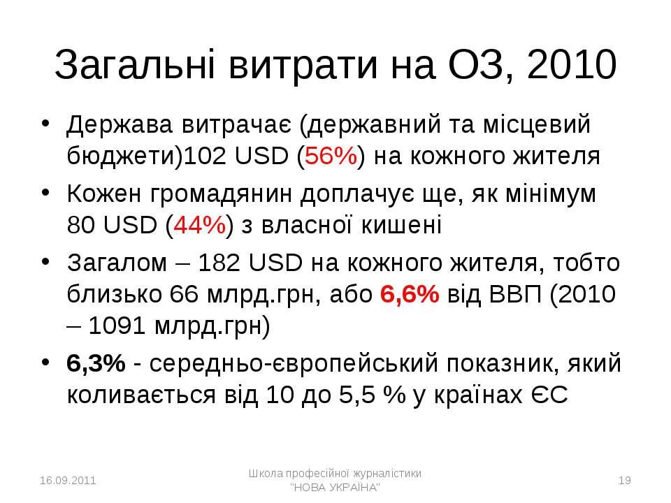 * Загальні витрати на ОЗ, 2010 Держава витрачає (державний та місцевий бюджет...