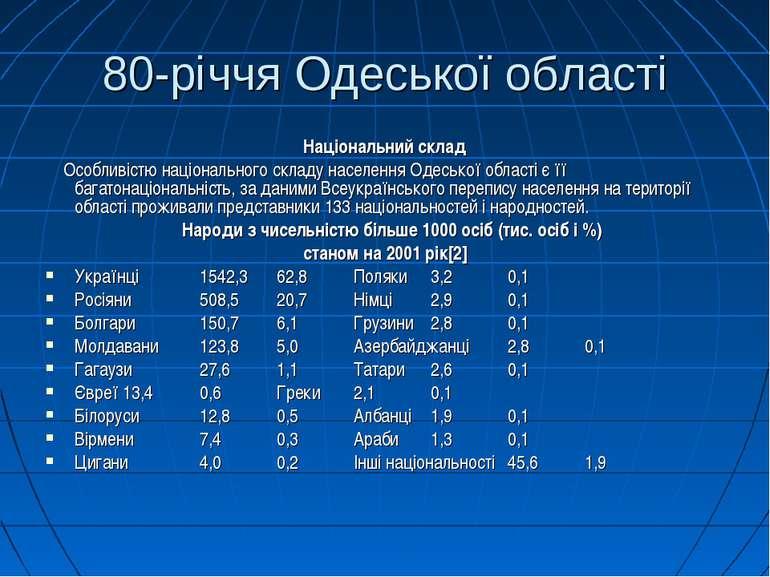 80-річчя Одеської області Національний склад Особливістю національного складу...