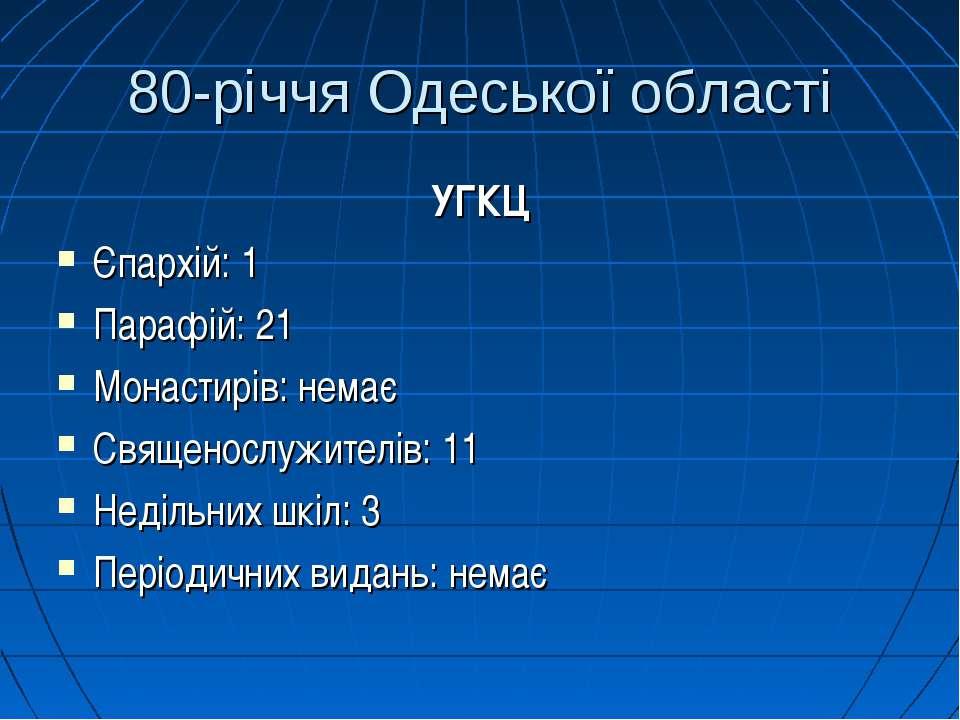80-річчя Одеської області УГКЦ Єпархій: 1 Парафій: 21 Монастирів: немає Свяще...