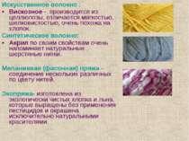 Искусственное волокно : Вискозное - производится из целлюлозы, отличается мяг...