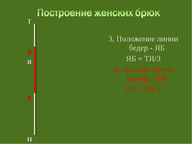 3. Положение линии бедер - ЯБ ЯБ = ТЯ/3 4. Уровень линии колена – БК БК = БН/2