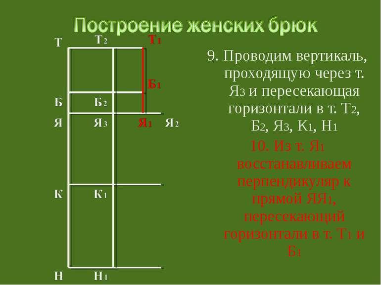 9. Проводим вертикаль, проходящую через т. Я3 и пересекающая горизонтали в т....