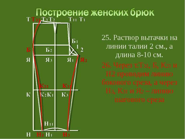25. Раствор вытачки на линии талии 2 см., а длина 8-10 см. 26. Через т.Т31, Б...