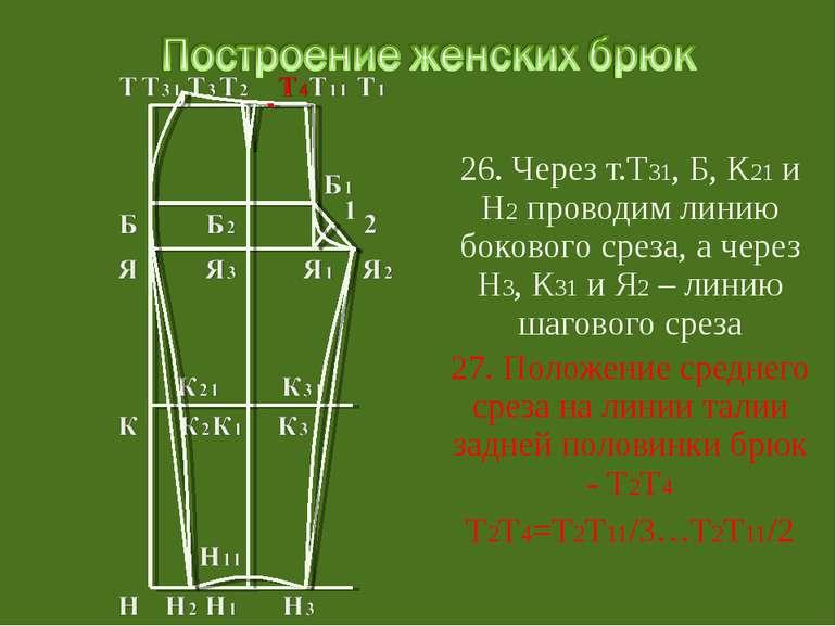 26. Через т.Т31, Б, К21 и Н2 проводим линию бокового среза, а через Н3, К31 и...