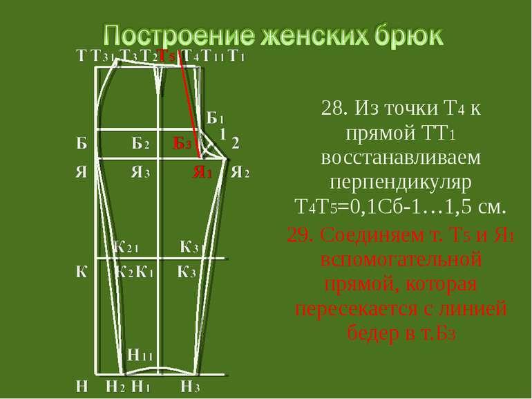 28. Из точки Т4 к прямой ТТ1 восстанавливаем перпендикуляр Т4Т5=0,1Сб-1…1,5 с...