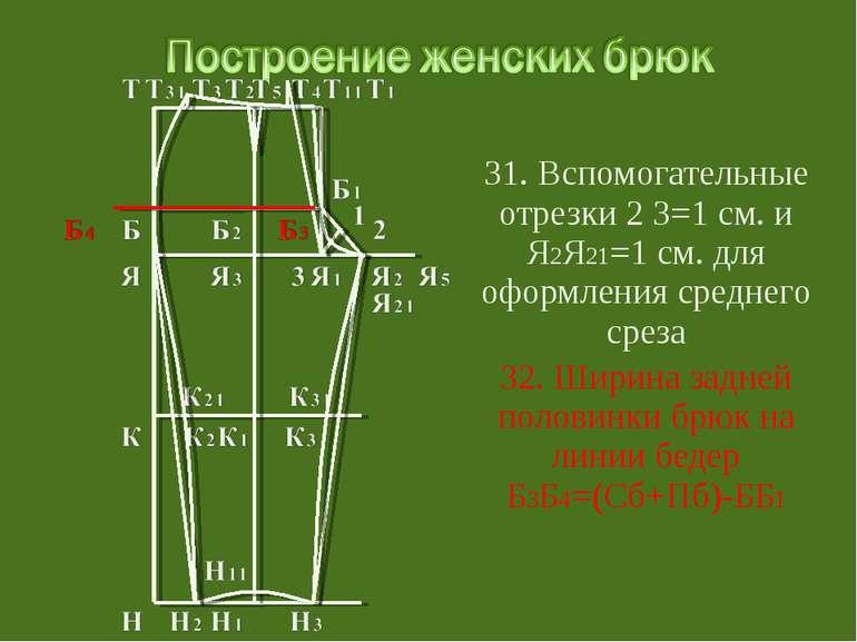 31. Вспомогательные отрезки 2 3=1 см. и Я2Я21=1 см. для оформления среднего с...