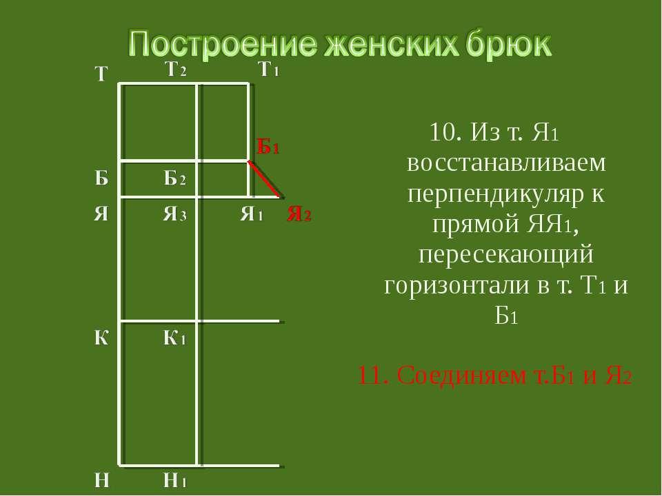 10. Из т. Я1 восстанавливаем перпендикуляр к прямой ЯЯ1, пересекающий горизон...