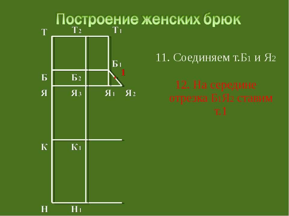 11. Соединяем т.Б1 и Я2 12. На середине отрезка Б1Я2 ставим т.1