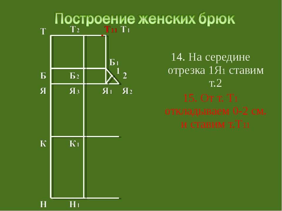 14. На середине отрезка 1Я1 ставим т.2 15. От т. Т1 откладываем 0-2 см. и ста...