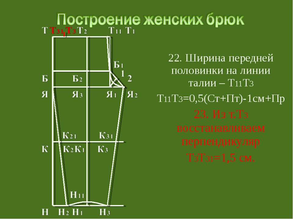 22. Ширина передней половинки на линии талии – Т11Т3 Т11Т3=0,5(Ст+Пт)-1см+Пр ...