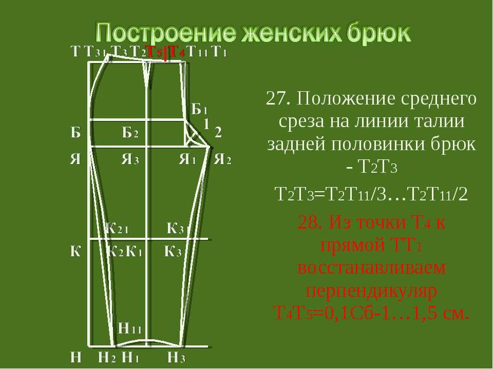 27. Положение среднего среза на линии талии задней половинки брюк - Т2Т3 Т2Т3...