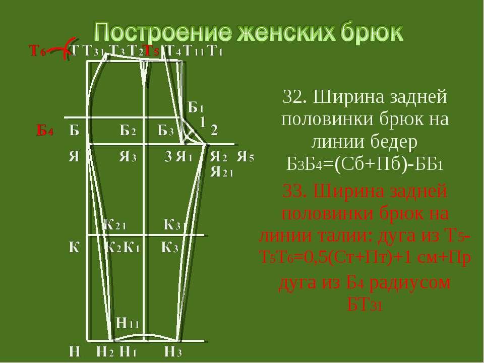 32. Ширина задней половинки брюк на линии бедер Б3Б4=(Сб+Пб)-ББ1 33. Ширина з...
