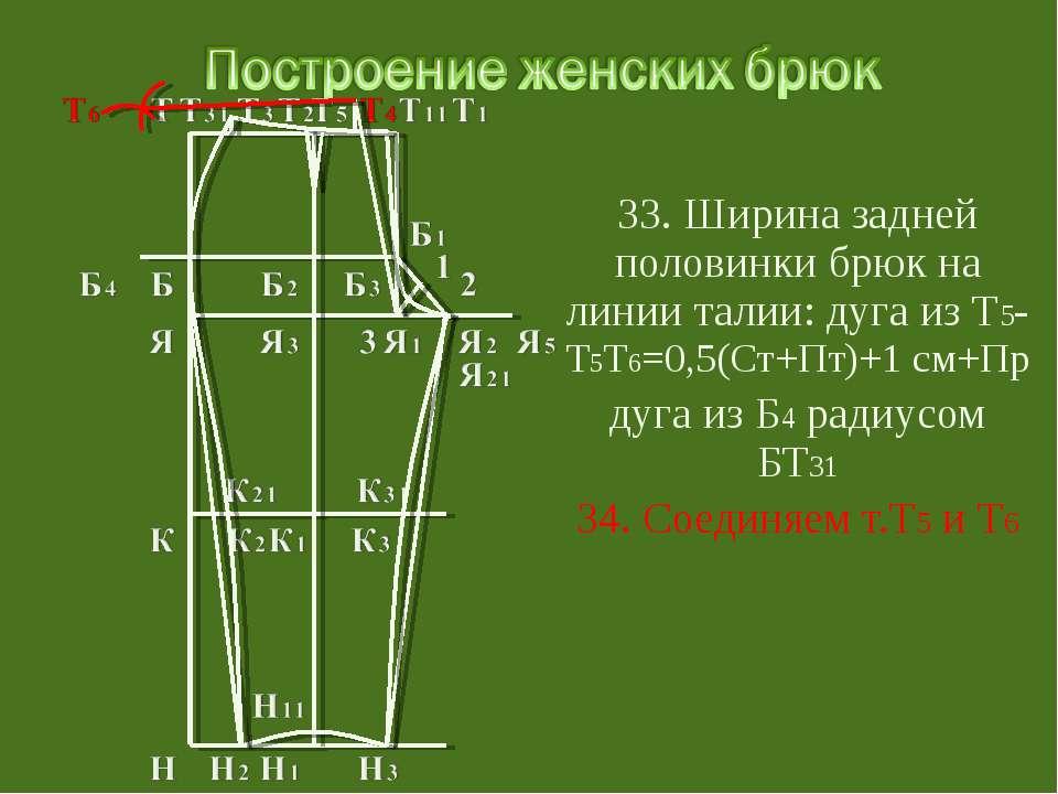 33. Ширина задней половинки брюк на линии талии: дуга из Т5-Т5Т6=0,5(Ст+Пт)+1...
