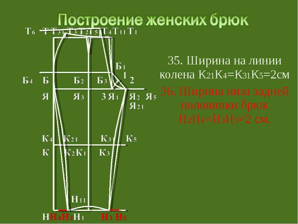 35. Ширина на линии колена К21К4=К31К5=2см 36. Ширина низа задней половинки б...