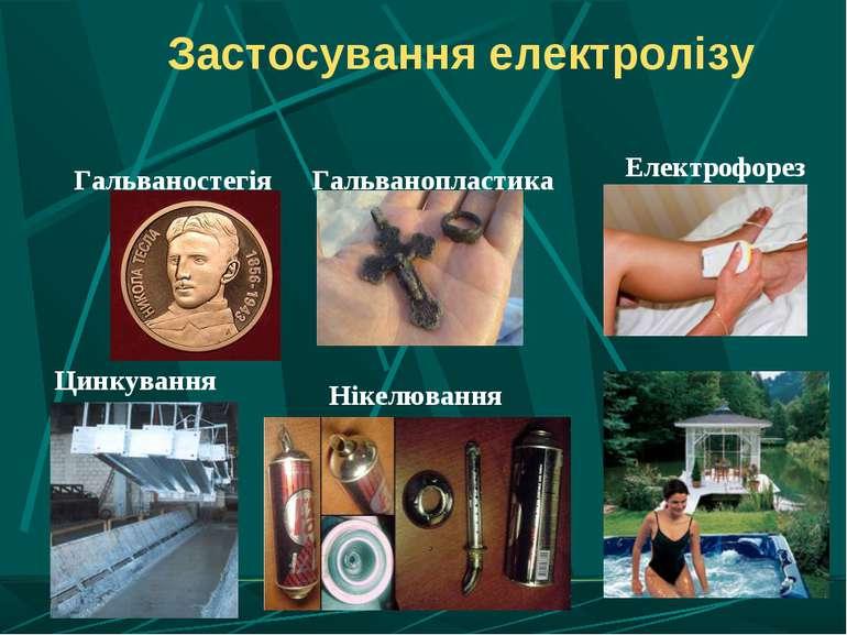 Застосування електролізу Гальваностегія Електрофорез Гальванопластика Цинкува...