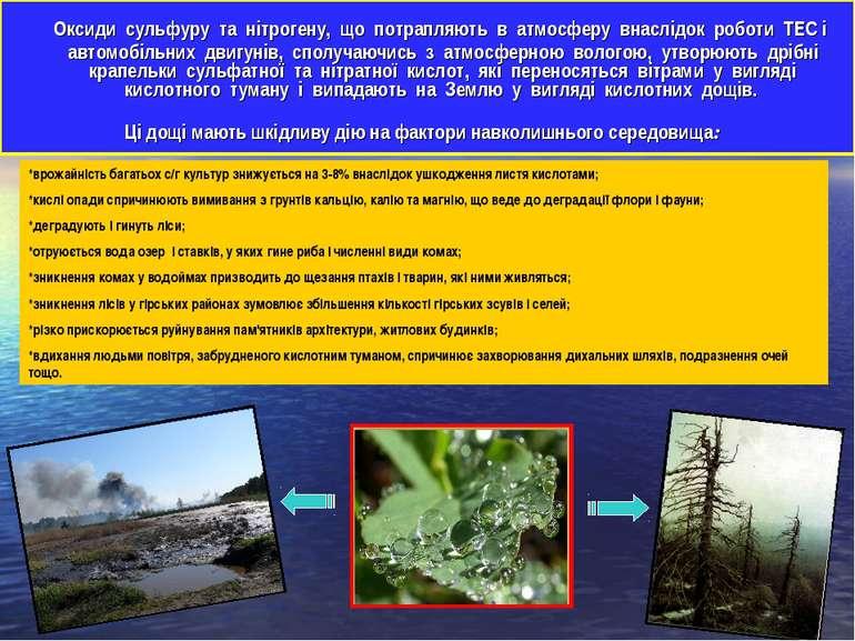 Оксиди сульфуру та нітрогену, що потрапляють в атмосферу внаслідок роботи ТЕС...