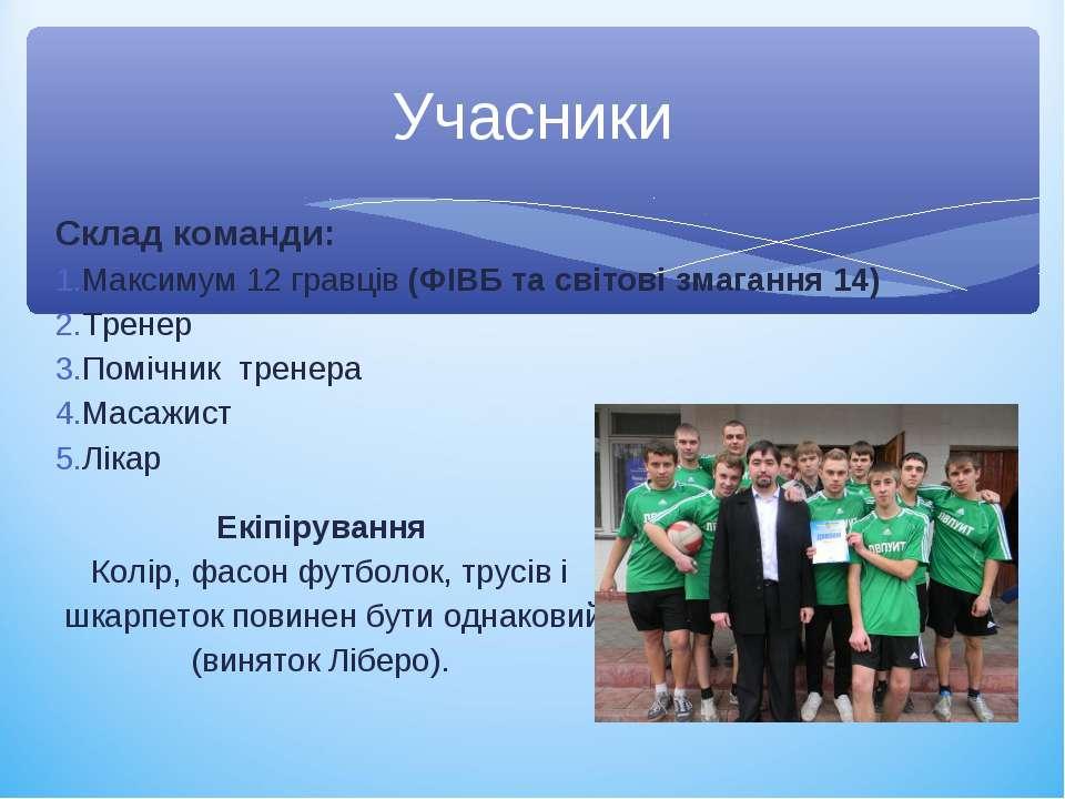 Склад команди: Максимум 12 гравців (ФІВБ та світові змагання 14) Тренер Поміч...