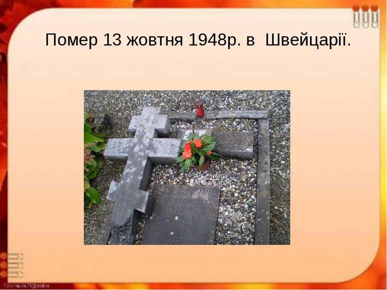 Помер 13 жовтня 1948р. в Швейцарії.