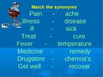 Match the synonyms Pain - ache illness - disease ill - sick Treat - cure Feve...