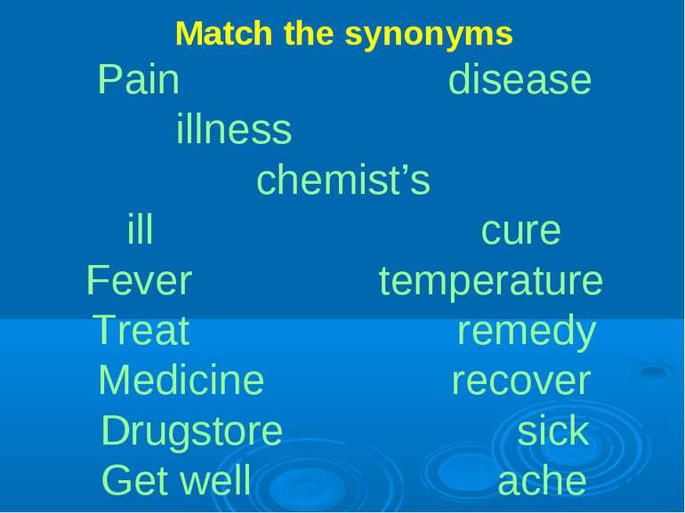 Match the synonyms Pain disease illness chemist's ill cure Fever temperature ...