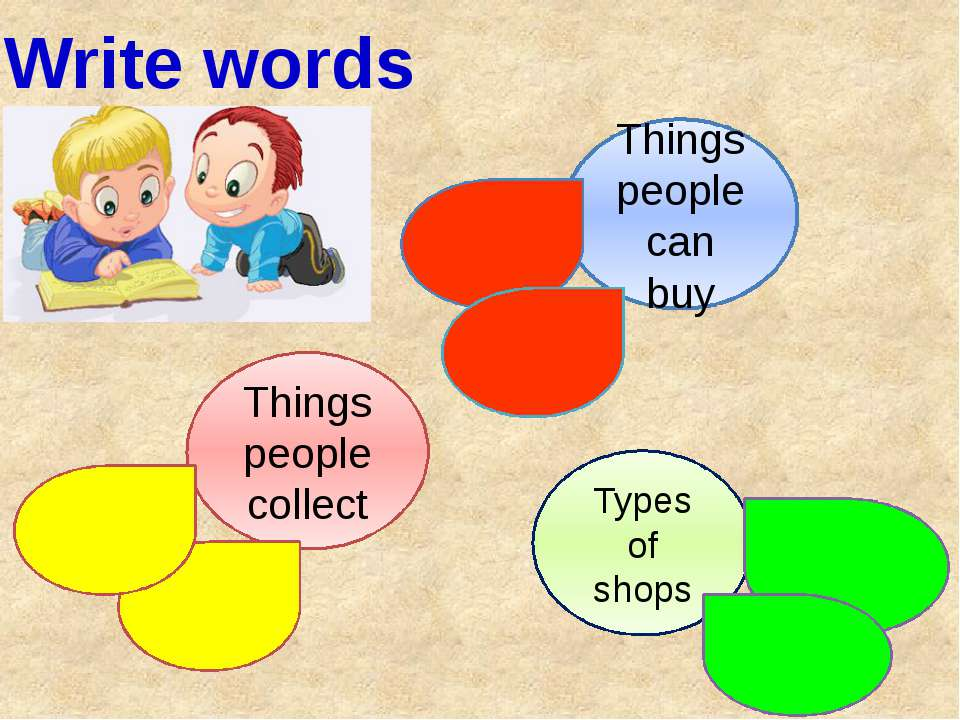 Write words Things people collect Things people can buy Types of shops