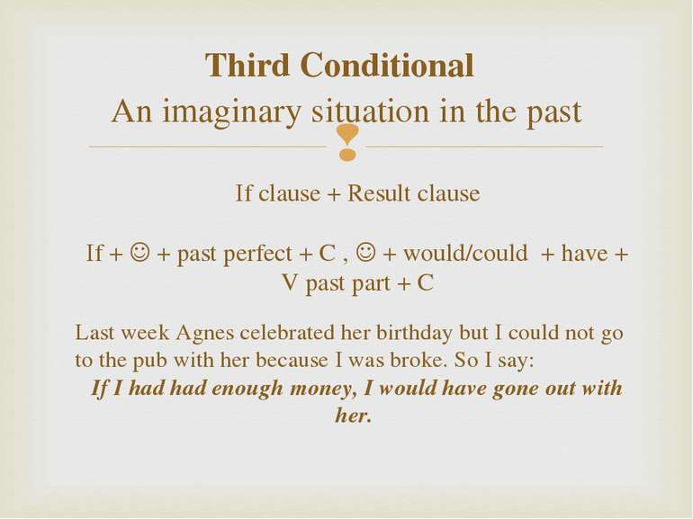 Third Conditional An imaginary situation in the past If clause + Result claus...