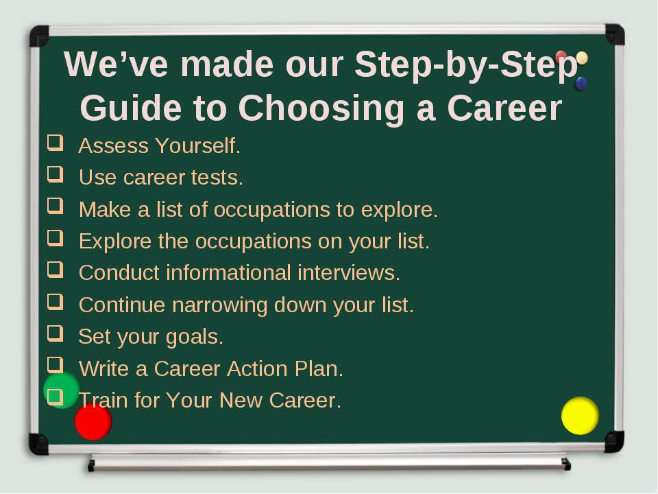 We've made our Step-by-Step Guide to Choosing a Career Assess Yourself. Use c...