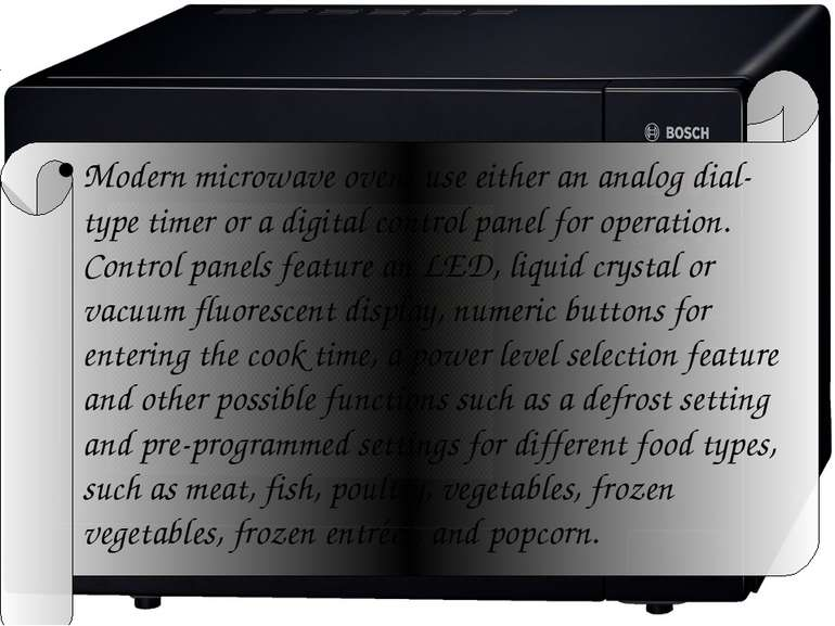 Modern microwave ovens use either an analog dial-type timer or a digital cont...
