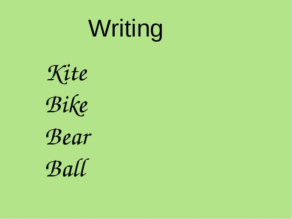 Writing Kite Bike Bear Ball