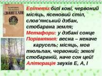 Епітети:білі коні, червоний місяць, ясеновий стіл, слов'янський дзбан, стобар...