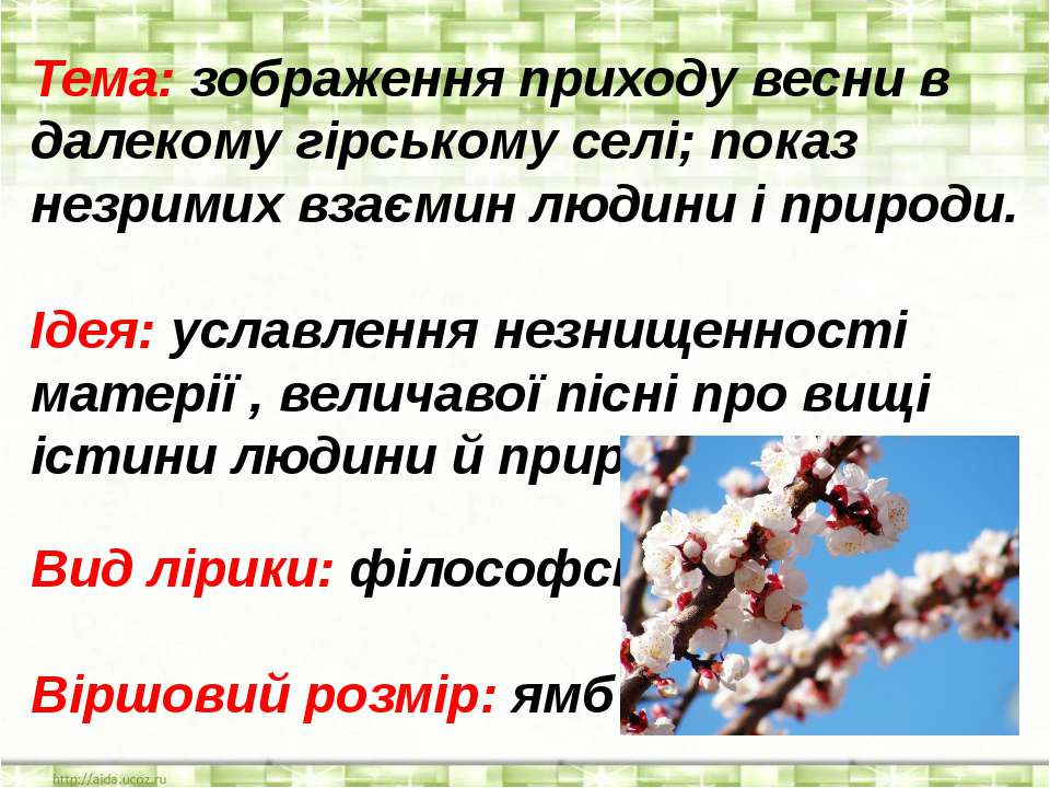 Тема: зображення приходу весни в далекому гірському селі; показ незримих взає...