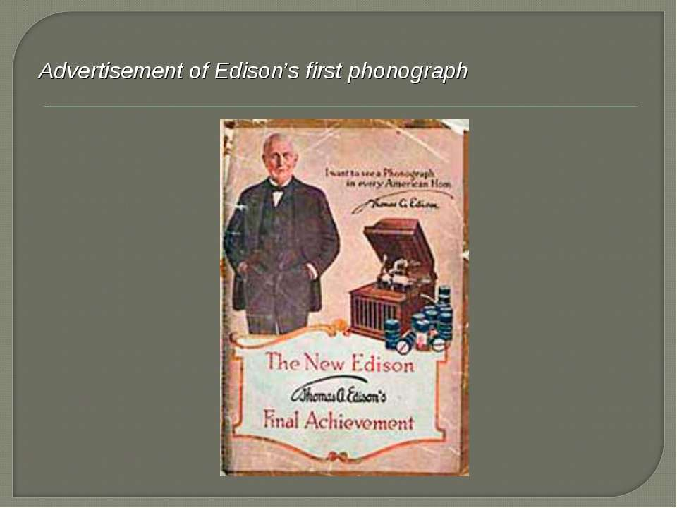 Advertisement of Edison's first phonograph