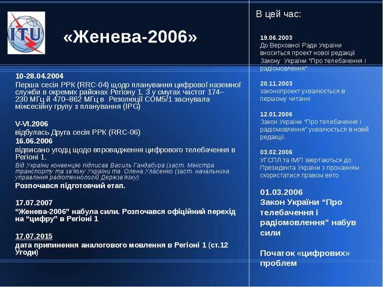 10-28.04.2004 Перша сесія РРК (RRC-04) щодо планування цифрової наземної служ...