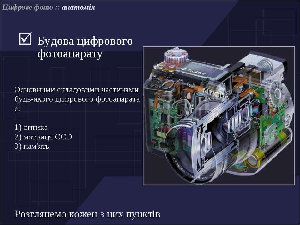 Цифрове фото :: анатомія Будова цифрового фотоапарату Основними складовими ча...