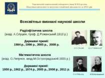Радіофізична школа (акад. А.Слуцкін, проф. Д.Рожанський,1910р.) Державні пре...
