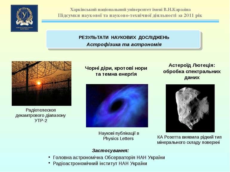 Чорні діри, кротові нори та темна енергія Астероїд Лютецiя: обробка спектраль...