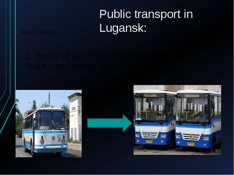 Public transport in Lugansk: Good points 1. Some of old buses are replaced by...