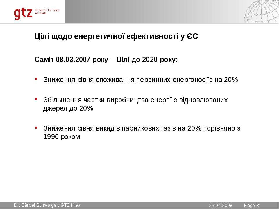 Цілі щодо енергетичної ефективності у ЄС Саміт 08.03.2007 року – Цілі до 2020...