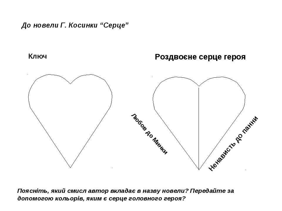 """До новели Г. Косинки """"Серце"""" Ключ Роздвоєне серце героя Любов до Минки Ненави..."""