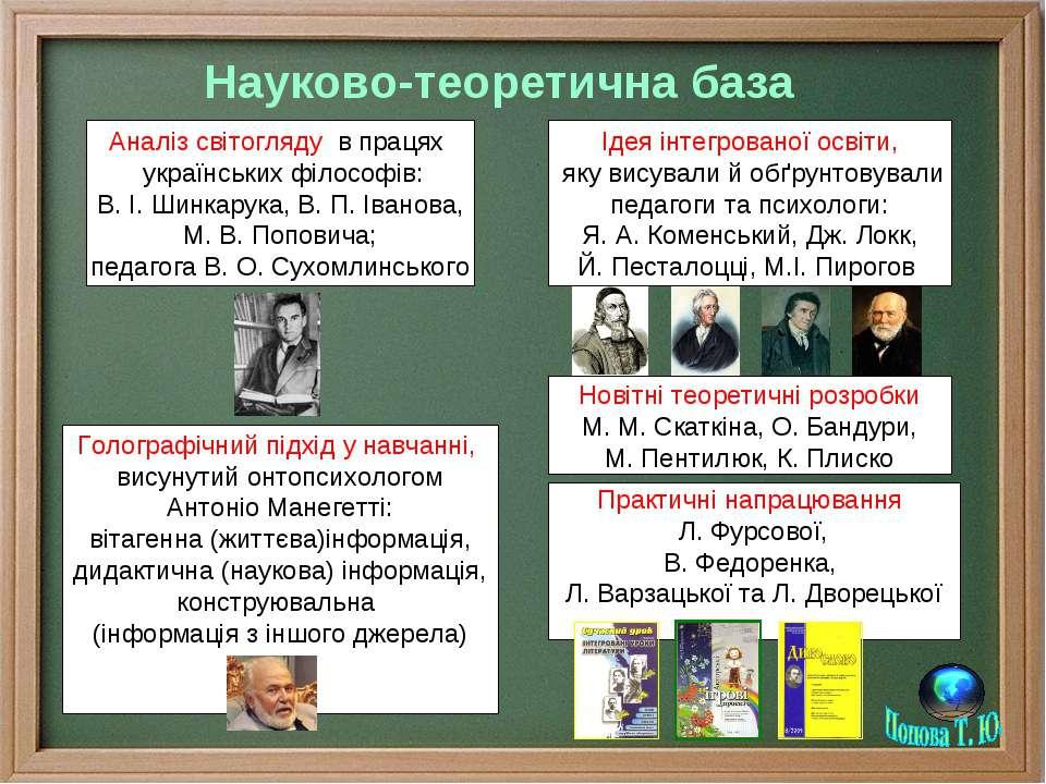 Науково-теоретична база Аналіз світогляду в працях українських філософів: В. ...