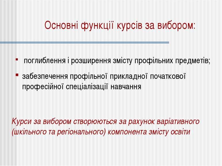 Основні функції курсів за вибором: поглиблення і розширення змісту профільних...