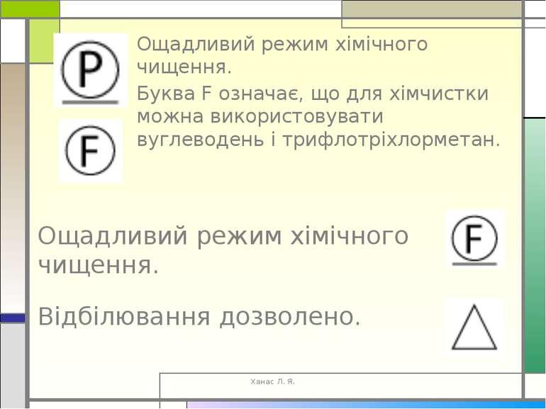 Ощадливий режим хімічного чищення. Буква F означає, що для хімчистки можна ви...