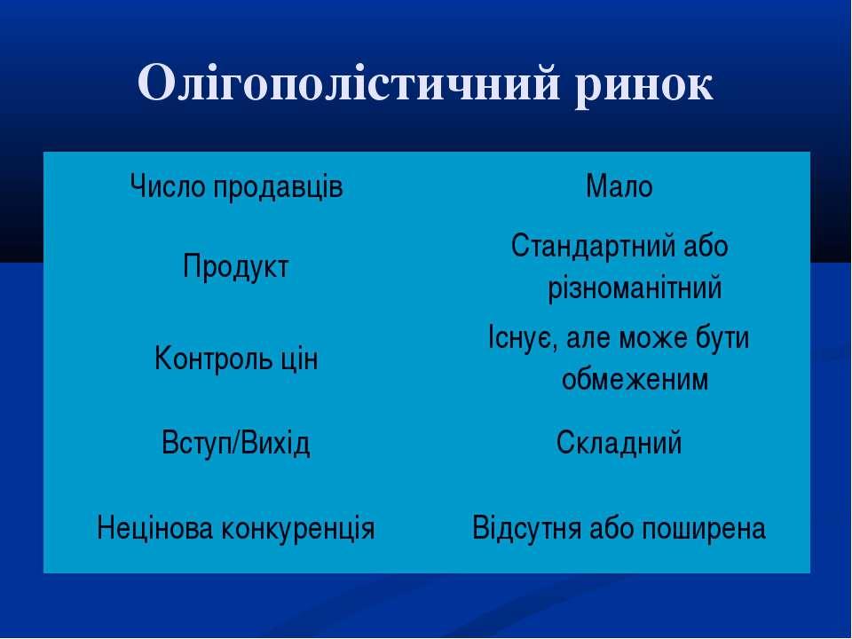 Олігополістичний ринок Число продавців Мало Продукт Стандартний або різномані...