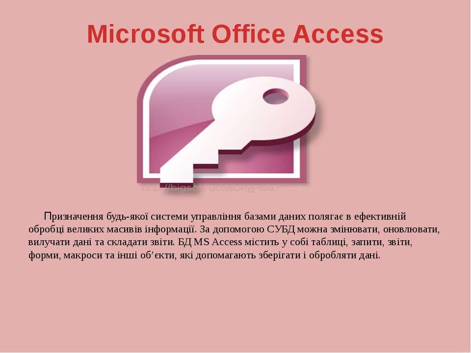Microsoft Office Access Призначення будь-якої системи управління базами даних...