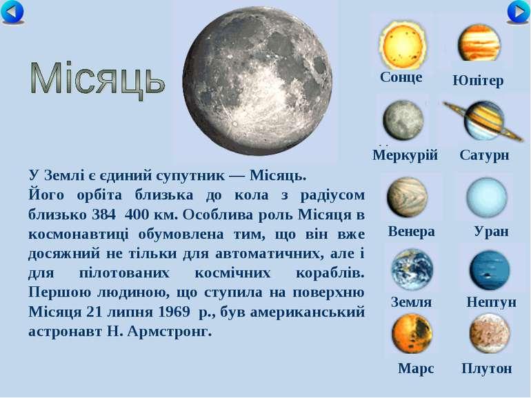 Сонце Меркурій Сатурн Венера Уран Земля Нептун Юпітер Марс Плутон У Землі є є...
