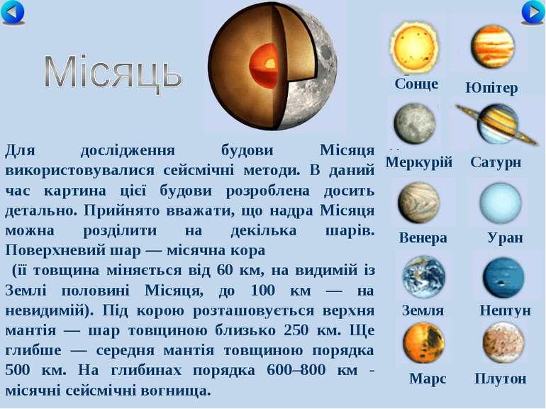 Сонце Меркурій Сатурн Венера Уран Земля Нептун Юпітер Марс Плутон Для дослідж...